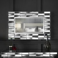 Knightsbridge - Grey Wall Mirror Rectangle 3D Glass Mirrored Effect For Living Room Hall Bedroom