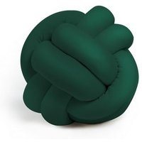 Knot Decorative Cushion - Woven - for Sofa, Bed - Green made of Polyester, 25 x 25 x 30 cm - HOMEMANIA