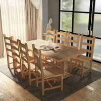 Kory Dining Set with 8 Chairs by Brown - Union Rustic
