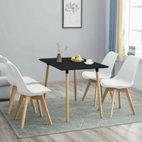 Black Wood Dining Table and 4 white Chairs Set Retro rectangle Dining Set Kitchen table set (Black table with 4 white chairs) - Kosy Koala