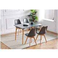 Dark Grey Wood Dining Table and 4 grey Chairs Set Retro rectangle Dining Set Grey Kitchen table set (Grey table with 4 grey chairs) - Kosy Koala