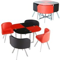 GLASS DINING TABLE with 4 FAUX LEATHER CHAIRS,SPACE SAVER (BLACK/RED) - Kosy Koala