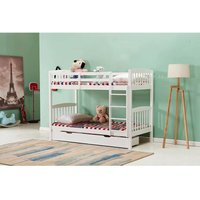 HEAVY DUTY WHITE WOOD BUNK BED 3FT SINGLE SPLIT INTO 2 SINGLE BEDS FOR KIDS CHILDREN ADULTS COMES WITH 2 UNDER BED DRAWERS AND 2 MATTRESSES KIDS