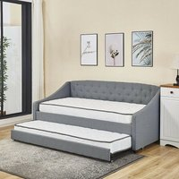 KOSY KOALA Linen fabric daybed grey sofa bed with underbed trundle living room bedroom furniture guest day bed sofabed (Grey, With 2 mattresses)