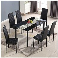 KOSY KOALA STUNNING BLACK GLASS KITCHEN DINING TABLE SET AND 6 OR 4 BLACK FAUX LEATHER CHAIRS - Table with 6 Black Chairs