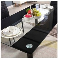 STUNNING BLACK GLASS KITCHEN DINING TABLE SET AND 6 OR 4 BLACK FAUX LEATHER CHAIRS - Table with 4 black Chairs - Kosy Koala