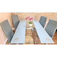 STUNNING GLASS GREY DINING TABLE SET AND 4 GREY FAUX LEATHER CHAIRS KITCHEN DINING TABLE (Grey/clear table and 4 grey chairs) - Kosy Koala