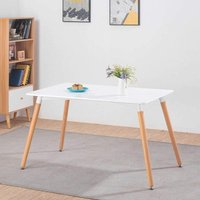KOSY KOALA White wood Dining Table Rectangular Kitchen Table Modern Wood Style Dinner Table with Beech Legs for Dining Room Home Office kitchen