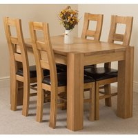 Kuba Solid Oak 125cm Dining Table with 4 Yale Solid Oak Dining Chairs [Light Oak and Brown Leather] - MODERN FURNITURE DIRECT