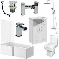 L Shaped Bathroom Suite 1600 LH Bath Screen Basin Vanity Unit WC Shower Taps