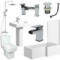 L Shaped Bathroom Suite Close Coupled Toilet Basin RH Bath Taps