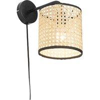 Country wall lamp black with rattan shade - Kata