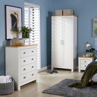 Langdale Cream Oak Two Tone 3 Piece Bedroom Set Wardrobe Bedside Chest Drawers
