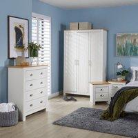 Langdale Cream Oak Two Tone 4 Piece Bedroom Set Wardrobe Bedside Chest Drawers