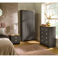 Langdale Graphite Oak Two Tone 3 Piece Set Wardrobe Bedside Chest of Drawers