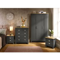 Langdale Graphite Oak Two Tone 4 Piece Set Wardrobe Bedside Chest of Drawers