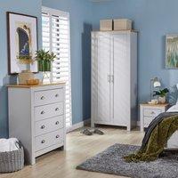 Langdale Grey Oak Two Tone 3 Piece bedroom Set Wardrobe Bedside Chest Drawers
