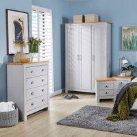 Langdale Grey Oak Two Tone 4 Piece Bedroom Set Wardrobe Bedside Chest Drawers