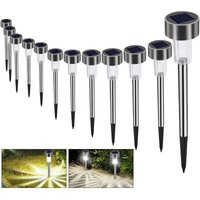 12 Pack LED Solar Garden Lights - Energy Saving - Stainless Steel - IP65 Sealing - Ideal for Patio, Lawn, Garden, Paths and Paths - Langray