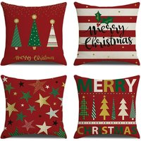 18  x 18  Cushion Cover Set of 4 for Outdoor, Home Decor, Sofa Bed, Breathable Linen with Hidden Zipper ? 1 # - Langray