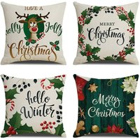 18  x 18  Cushion Cover Set of 4 for Outdoor, Home Decor, Sofa, Bed, Breathable Linen with Hidden Zipper ? 2 # - Langray