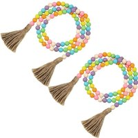 LangRay 2 Piece Easter Day Wood Bead Garlands with Tassels Rustic Farmhouse Country Wood Bead Garland 10.8 Feet Natural Holiday Garland Prayer Boho
