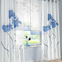 LangRay 2 Pieces Curtain Scarf Flower Print Curtain Curtain for Living Room Bedroom Buckle Scarf, Width 150cm / Height 175cm, Blue