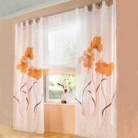 LangRay 2 Pieces Curtain Scarf Flower Print Curtain Curtain for Living Room Bedroom Buckle Scarf, Width 150cm / Height 225cm, Orange