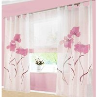 LangRay 2 Pieces Curtain Scarf Flower Print Curtain Curtain for Living Room Bedroom Buckle Scarf, Width 150cm / Height 225cm, Pink
