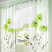 LangRay 2 Pieces Curtain Scarf Flower Print Curtain Curtain for Living Room Bedroom Buckle Scarf, Width 150cm / Height 270cm, Green