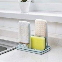 LangRay Blue Sink Organizer DIY Kitchen Utensil Holder Drainer Sponge Holder Towel Holder Organizer PP Plastic Blue