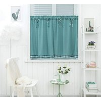 Curtains Small Short Windows Country Style Vintage Opaque Disc Curtains Short Curtains Short Curtain Kitchen Modern Checkered Set of 2 Living Room