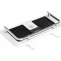 LangRay Drillless Shower Shelf for Shower Rail, Adjustable Shower Bar Shelf, Bathroom Shampoo Soap Organizer with 2 Hooks, For 22-25mm Rail