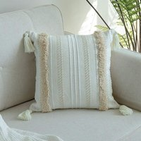 LangRay Luxe Tufting Pompom Cushion Cover, Decorative Sofa Bed, White, Pillow Case Home Decor Cushion Covers 45x45cm