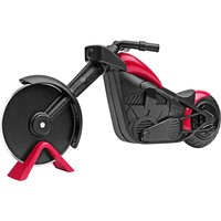 LangRay Motorcycle Pizza Rollers, Stainless Steel and Plastic Pizza Knife Roller, Ideal Decoration and Creative Gift (21.5 * 8.5cm, Black and Red)