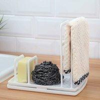 LangRay Pink Sink Organizer DIY Kitchen Utensil Holder Drainer Sponge Holder Towel Holder Organizer PP Plastic White