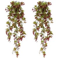 Set of 2 Artificial Ivies for Hanging for Home, Garden, Office, Home Decor Red - Langray