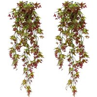 Set of 2 Artificial Ivy Vine Plants Fake Ivy Hanging Home Office Outdoor Indoor Decor Red - Langray