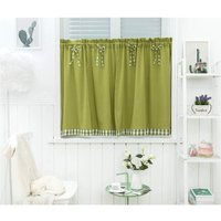 LangRay Short Window Curtains Vintage Country Style Opaque Disc Short Curtains Short Curtains Short Curtain Kitchen Modern Checkered Set of 2 Living