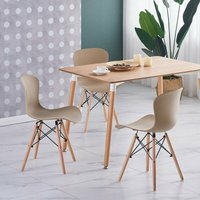Alessia Halo Dining Table Set with 4 Chairs (OAK and VANILLA)