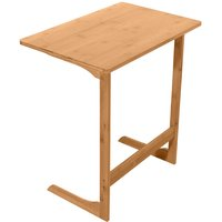 Axhup - Laptop Stand L-shaped Bed Desk Bamboo Side Table for Sofa Hospital Nursing Reading Eating (Wood/60x40x65cm)