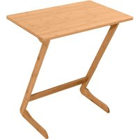 Axhup - Laptop Stand Z-shaped Bed Desk Bamboo Side Table for Sofa Hospital Nursing Reading Eating (Wood/60x40x65cm)