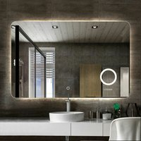 Large Backlit LED Illuminated Modern Bathroom Mirror w/ Demister Round Magnifier - LUVODI