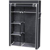 Large Fabric Canvas Wardrobe+Hanging Rail Shelf Cloth Storage Cupboard Closet - Grey - Grey
