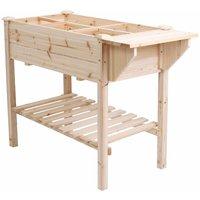 Large Garden Wooden Raised Bed Table Platform Container Vegetable Trough Planter - UNHO