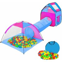 Tectake - Large play tent with tunnel + 200 balls for kids - kids pop up tent, kids tent, pop up play tent - blau