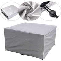 Large Outdoor Cover Garden Furniture Waterproof Patio Rattan Table Cube Set Seat silver 225x116x82cm - AUGIENB
