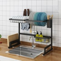 Large Over Sink Kitchen Dish Rack Stainles Steel Bowl Drain Drying Drainer Shelf 65×32×52cm