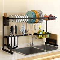 Large Over Sink Kitchen Dish Rack Stainles Steel Bowl Drain Drying Drainer Shelf 85×32×52cm