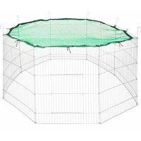 Large rabbit run with safety net Ø 204cm - guinea pig run, rabbit cage, rabbit pen - green - grün - TECTAKE